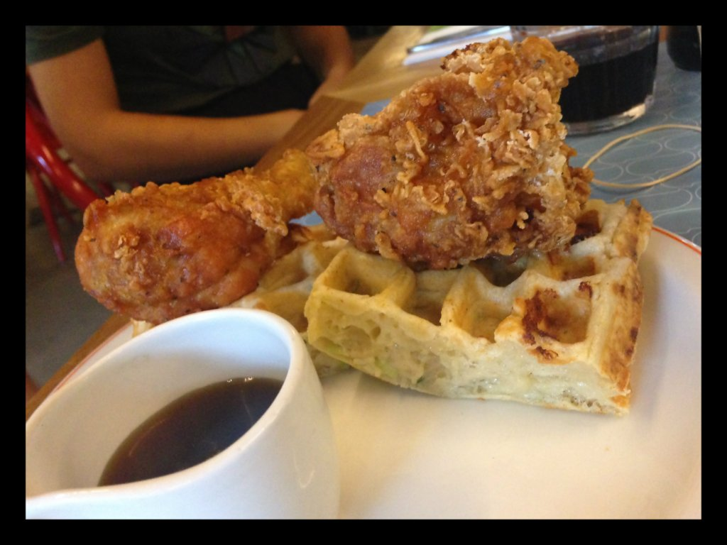 Fried Chicken with waffles and Canadian maple syrup