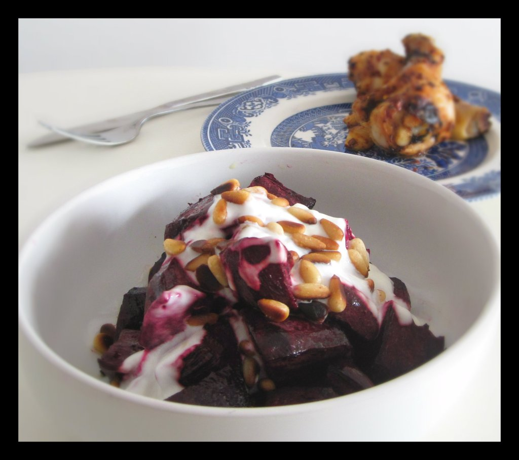 Sweet roasted beets with roast chicken