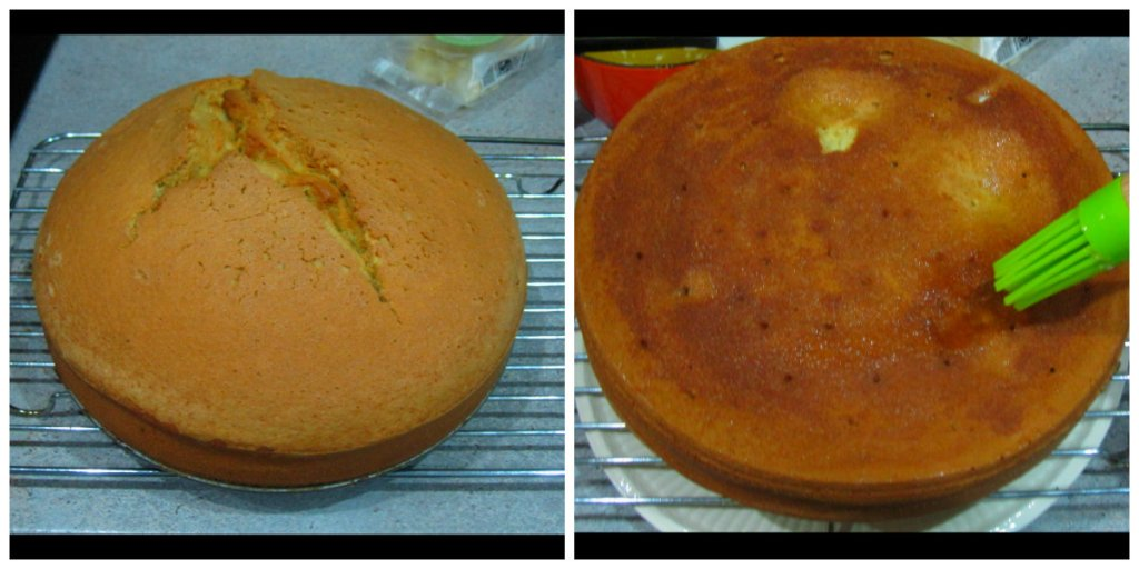 Cake cooked and brushed with glaze