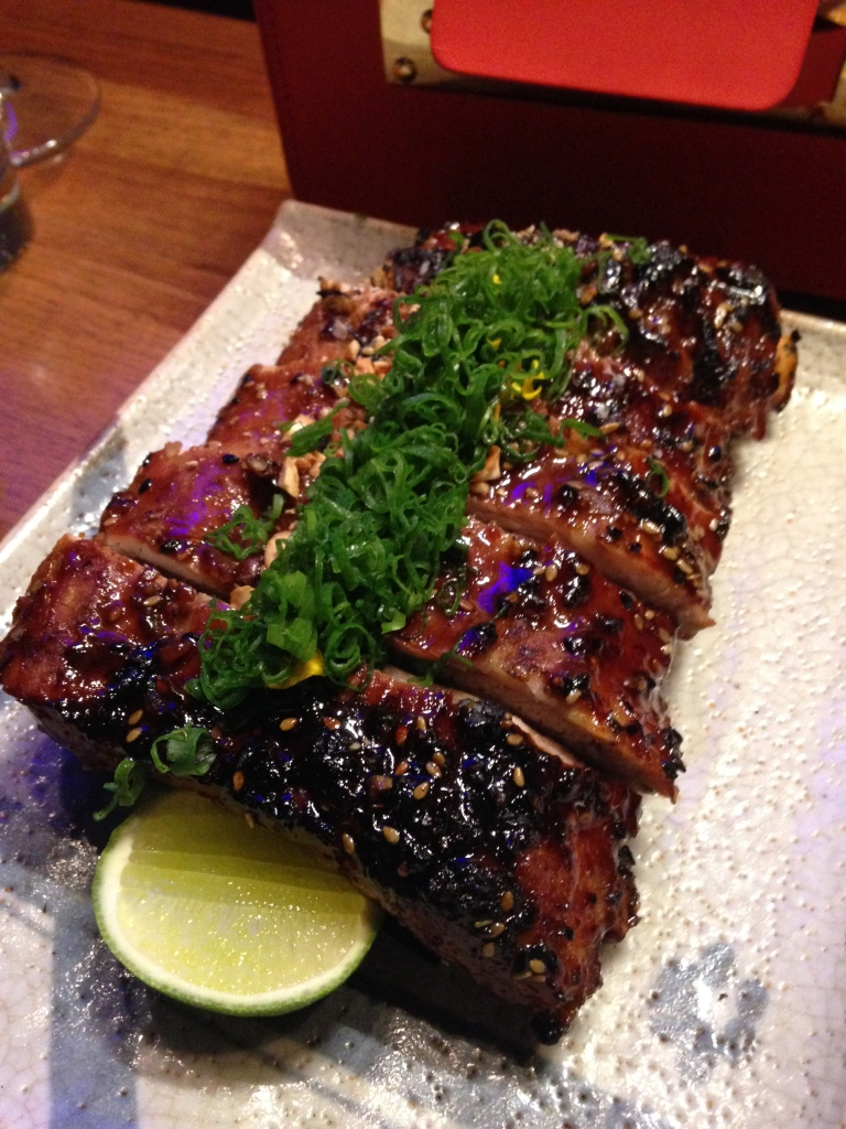 Glazed Pork Ribs with Spring Onions and Cashews - Roka Akor, Chicago