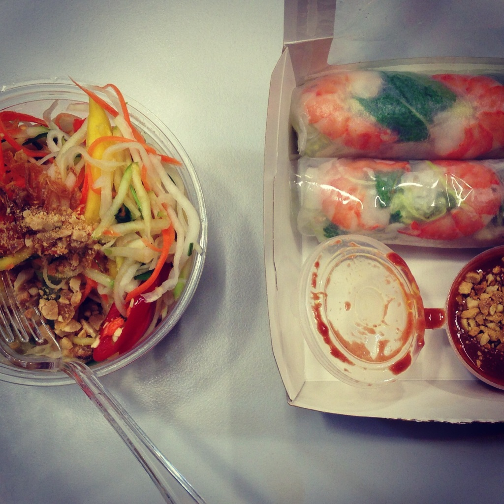 Prawn summer rolls and Viet salad - City Caphe