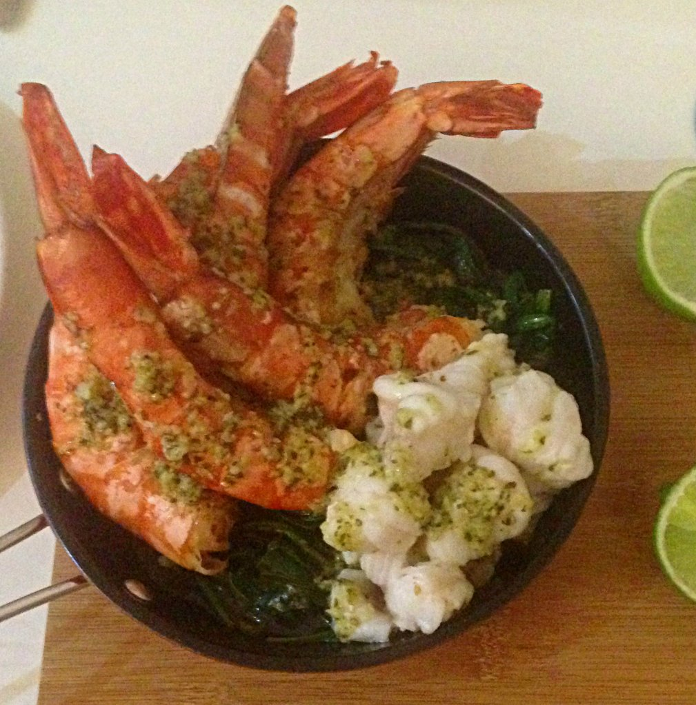 Garlic, lime and basil tiger prawns and monkfish vs4