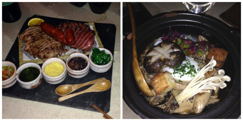 Pure-blooded120g hot-stone dipping sauces pickled plums & Mushroom tobanyaki poached egg japanese mushrooms garlic chips - Sushi Samba