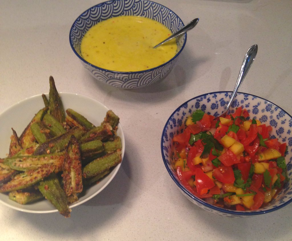 Baked Okra, Lime & Scotch Bonnet Aioli and Mango and Scotch bonnet Salsa