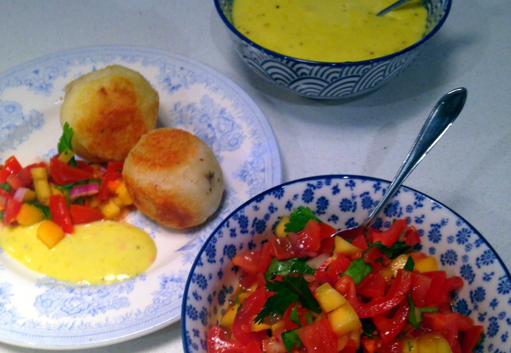 Cassava balls, salsa and aioli