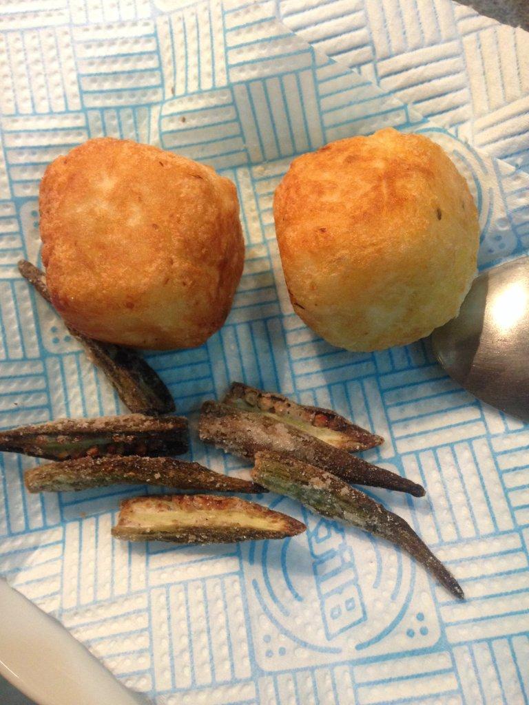 Fried cassava balls and baked okra