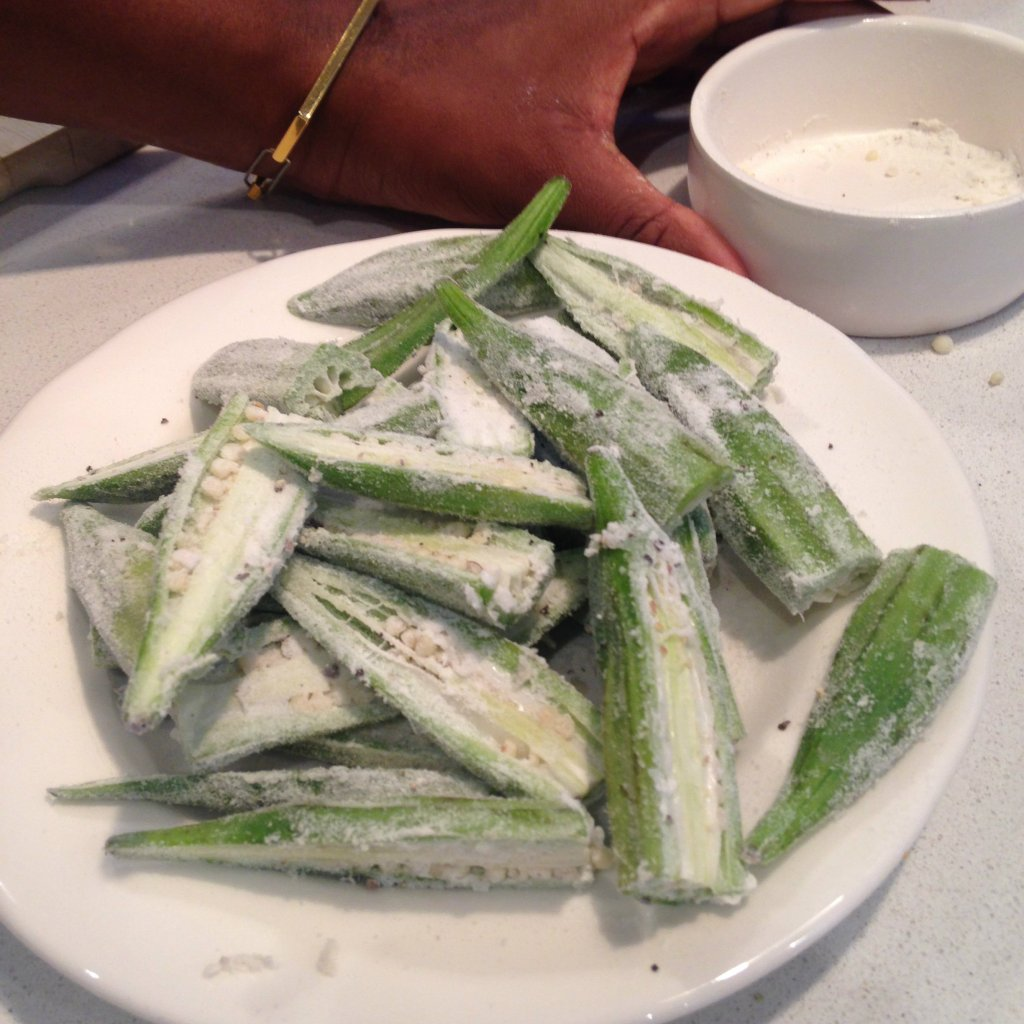 Okra lightly dusted in rice flour