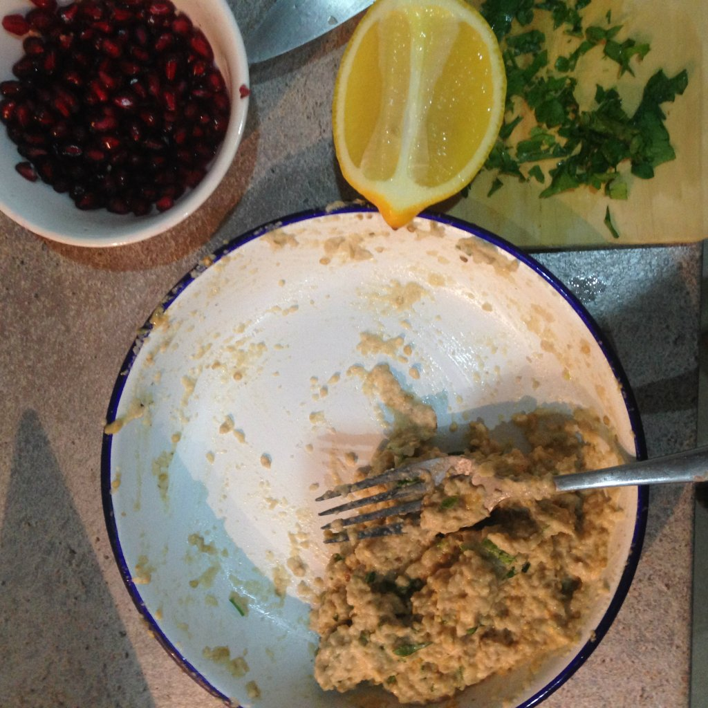 Mixing together the babaganoush