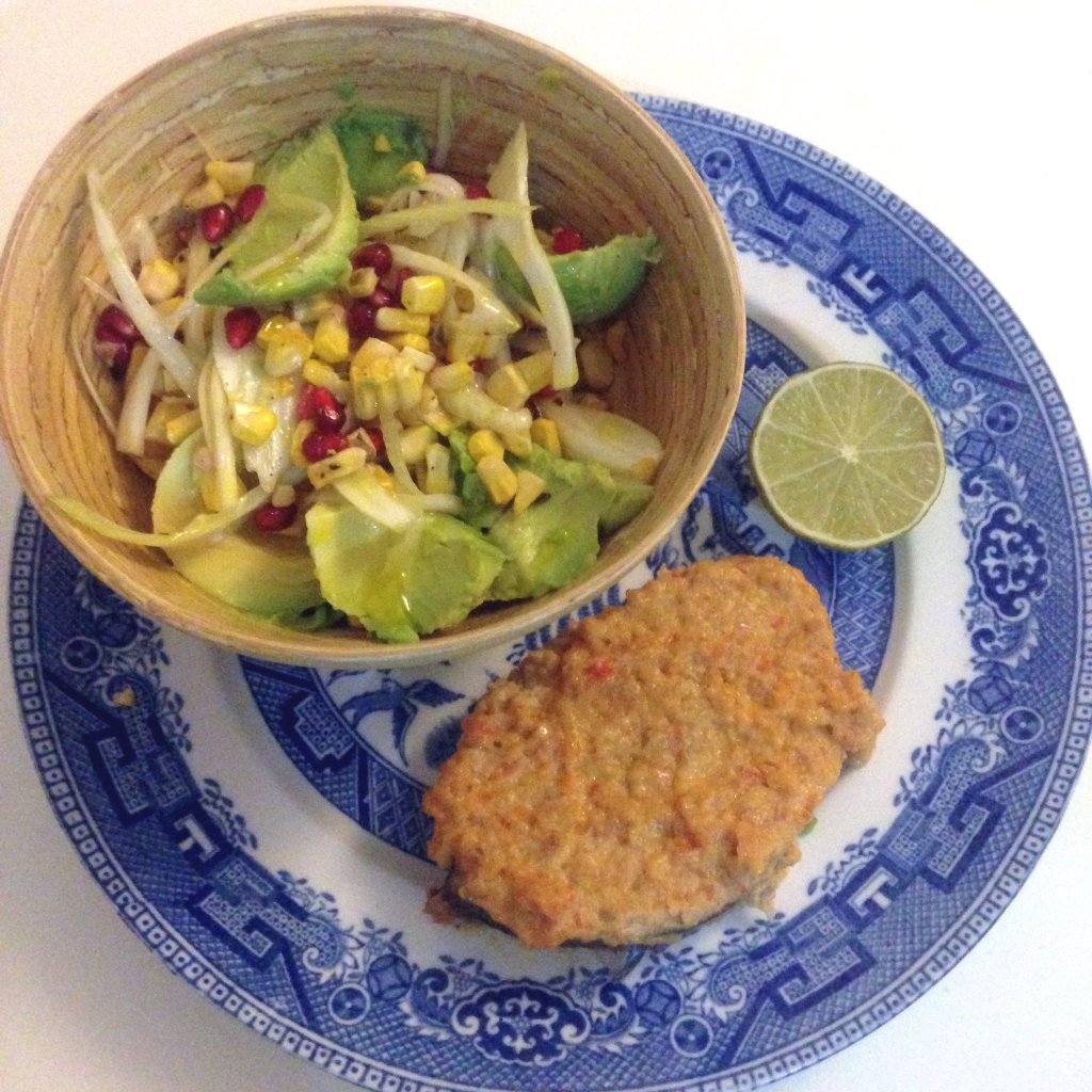 Pepper Kingfish with a fennel, avocado and charred corn salad - blog picture