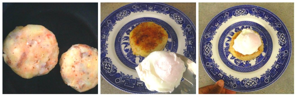 Potato cakes and poached egg