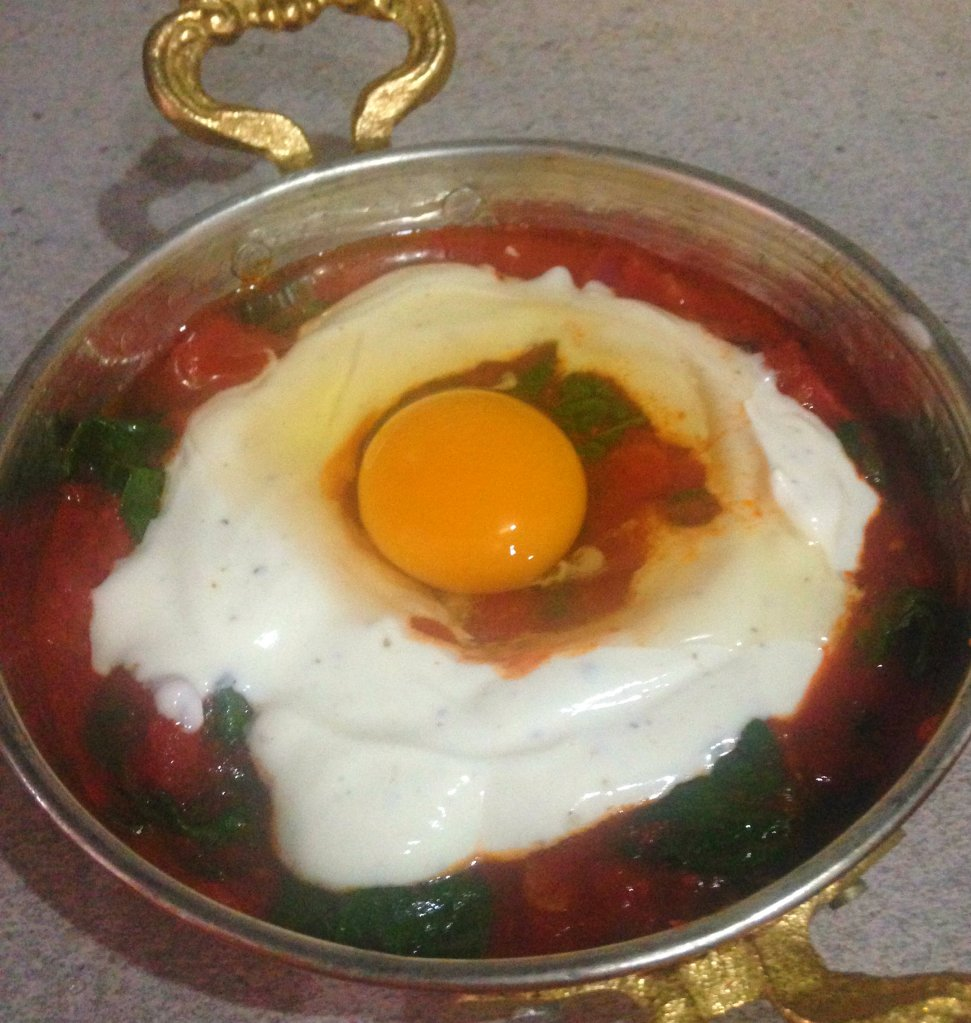 Baked egg before being cooked