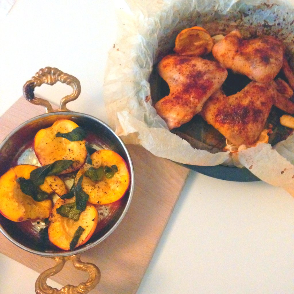 Chicken wings and sage nectarines